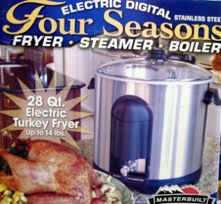 Stainless Steel 28QT Electric Digital Turkey Fryer Steamer Boil