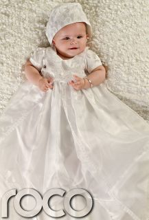 Baby Girls Ivory Dress Traditional Baptism Gown Christening Dresses 0
