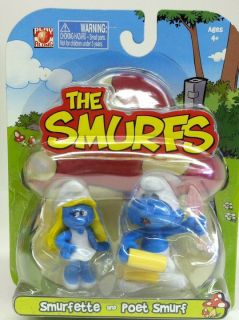 The Smurfs Smurfette and Poet Smurf Figures Combine