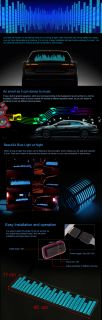 Blue Light Sound Music Activated Car Stickers Equalizer Fashion