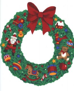 Christmas Wreath Large Iron on Fabric Applique