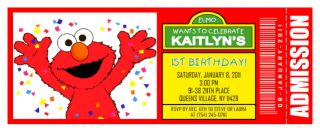 10 Elmo Sesame Street Personalized Ticket Birthday Invitations