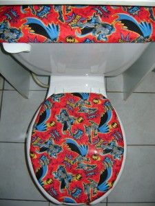 DC Comic Super Hero Batman Fabric Toilet Seat Cover Set