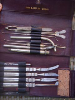 WWII 13 Piece Field Medical Equipment in Leather Case
