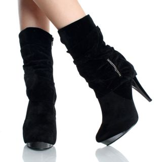 Womens Black Ankle Boots Fashion Rhinestone Velvet Platform High Heels