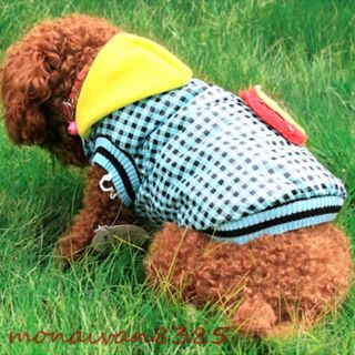 Strawberry Blue Checked SMALL Dog Coat Fleece Dog Clothes Pet Supplies