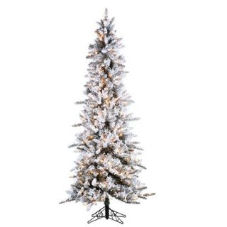 Inc Flocked Tree Narrow Pencil Pine Artificial Christmas Tree 5820 75C