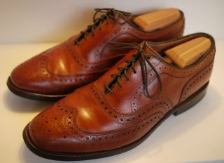 ALLEN EDMONDS FAIRHAVEN WINGTIP BROGUE OXFORD SHOES 8 D BROWN
