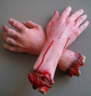 bloody fake lifesize arm hand halloween prop that i can send you need