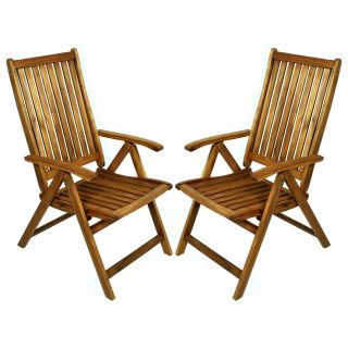 Cottage Gardens Acacia 5 Position Folding Patio Chair 2 Pack