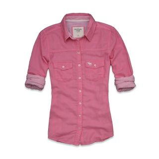 Abercrombie Fitch Women Stripe Classic Shirt Fallon Pink