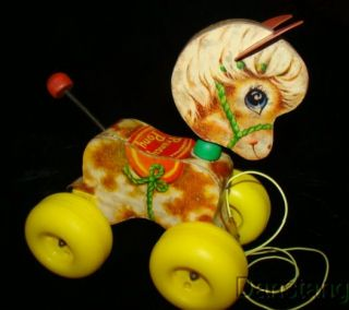 Vintage Fisher Price Prancy Pony Wood Horse Pull Toy 617 1965