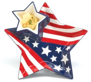 Chip DIP Platter Tray Patriotic American Flag Star New
