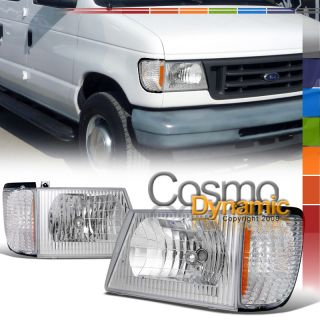 92 06 FORD ECONOLINE VAN CRYSTAL CLEAR HEADLIGHTS CORNER LAMP