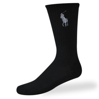 Polo Ralph Lauren Mens Socks Technical Big Pony Crew Black 3 Pairs