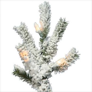 Vickerman Flocked Alpine 84 Artificial Christmas Tree w Clear Lights