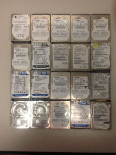 Lot of 20 Assorted 80GB 640GB SATA IDE Laptop Hard Drives for Parts or