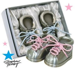 New Pink Blue Baby Shoes First Tooth Curl Pewter Keepsake Set