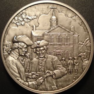 History of Colonial America Franklin Mint Pewter Medallion