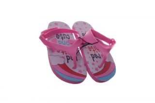 Girls Pink Velcro Flip Flops Sandals Beach Shoes Rainbow 9 10 Toddler