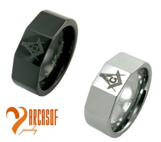 Tungsten Carbide Freemason Masonic Rings Black Silver