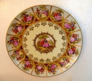 Large Western Germany Fragonard Love Story Plate Signed