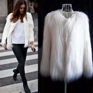 Vintage White Faux Fur Long Hair Winter Coat Jacket