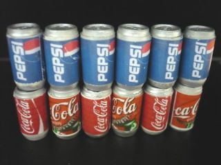 Coca Cola 6 Pepsi Cans Dollhouse Miniatures Food Drink