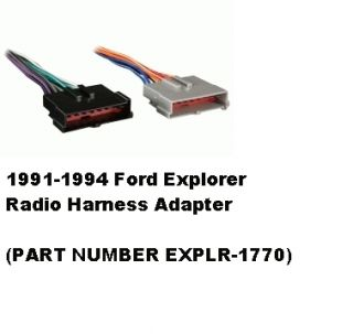 1991 1992 1993 1994 Ford Explorer Radio Wiring Harness Adapter