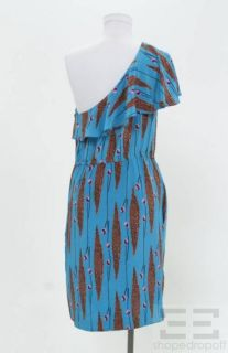 Frock by Tracy Reese Blue Orange Printed Silk One Shoulder Dress Size