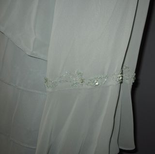 20W Alex Evenings Sage Green Chiffon Beaded Bolero Jacket Dress Gown $