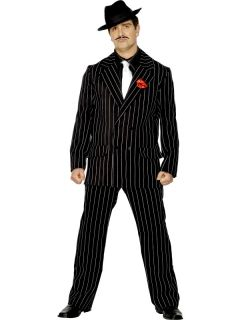 20s Gangster Pinstripe Zoot Suit Fancy Dress Costume M