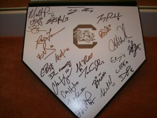 2012 SOUTH CAROLINA GAMECOCKS BASEBALL TEAM SIGNED HOME PLATE W COA