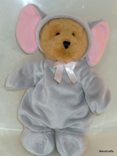 Vtg Ganz 1999 Blonde Teddy Bear in Plush Elephant Suit
