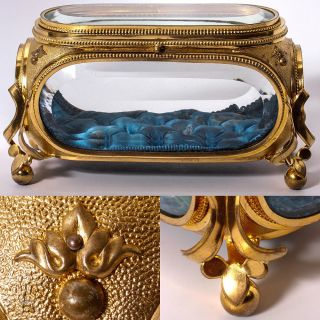 Antique French Deep Beveled Glass Jewelry Box, Casket, Brilliant Dore