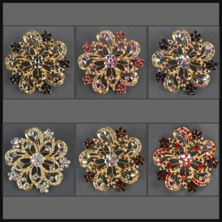 Flower Rhinestone Gold Brooch Pin BH035