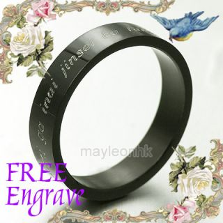 Black Gold Word Engrave Wedding Bands Titanium Rings