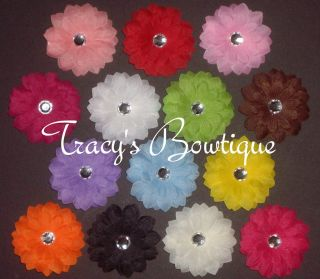 14 Gerbera Daisy Mini Flowers Hair Clips Bows 2 Girls Baby Toddlers