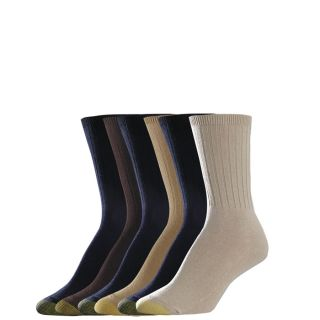 Gold Toe Womens Socks Ribbed Crew Oatmeal Khaki Bark 6 Pairs