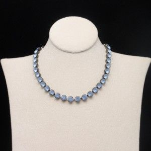 blue satin gass rhinestone necklace gun metal