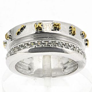 925 Silver Yellow Gold Plated CZ Zodiac Ring Sz 8 US