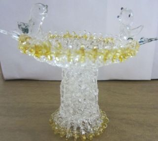 Glass Miniature Bird Feeder Fountain Clear and Yellow Glass