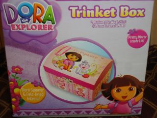 DORA THE EXPLORER  GIRLSTRINKET/JEWELRY BOX WITH FIGURINE/MIRROR NWT