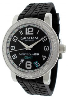 Graham Mercedes GP Black Dial Automatic Black Rubber Mens Watch