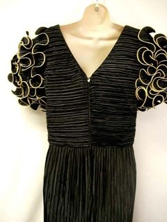 George F Couture Vintage 80s Black Pleated Formal Gown Dress Puff