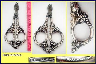 Antique, Victorian era, Art Nouveau grape shears / scissors. Sterling