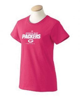 Green Bay Packers Womens T Shirt New Light Pink and Hot Pink Available