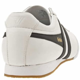 Gola Discus Mens White Black Leather Trainers
