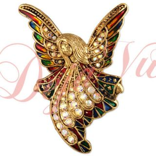 Crystal Antique Gold Plate Angel Brooch Pin Pendant Made with