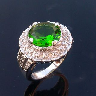 Womens Jewelry Gift Silver Gemstone Ring Green Quartz Ring Size 6
